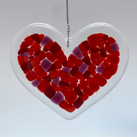Fused Glass Heart Hanging (Reds) - Handmade Glass Decoration