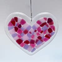Fused Glass Heart Hanging (Pinks) - Handmade Glass Decoration