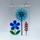 Fused Glass Flower and Allium Hanging - Handmade Glass Suncatcher
