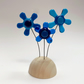 Fused Glass Happy Hippy Flowers (Blues) - Handmade Fused Glass Sculpture