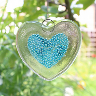 Fused Glass Bubbly Big Heart Hanging - Handmade Glass Suncatcher