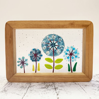 Fused Glass Mixed Flowers Picture - Freestanding Framed Fused Glass Picture