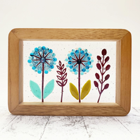 Fused Glass Blue Alliums Picture - Freestanding Framed Fused Glass Picture