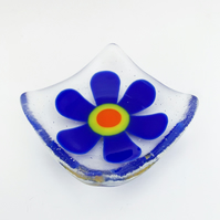 Fused Glass Retro Cobalt Blue Flower Dish - Handmade Fused Glass Dish