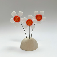 Fused Glass Happy Hippy Flowers (White2) - Handmade Fused Glass Sculpture