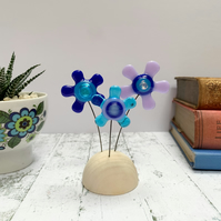 Fused Glass Happy Hippy Flowers (Blues2) - Handmade Fused Glass Sculpture