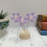 Fused Glass Happy Hippy Flowers (Lilacs) - Handmade Fused Glass Sculpture