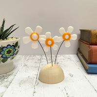 Fused Glass Happy Hippy Flowers (White8) - Handmade Fused Glass Sculpture