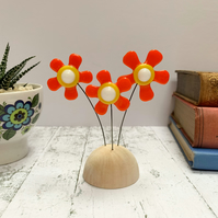 Fused Glass Happy Hippy Flowers (Orange1) - Handmade Fused Glass Sculpture