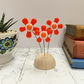 Fused Glass Happy Hippy Flowers (Orange3) - Handmade Fused Glass Sculpture