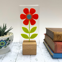 Fused Glass Red Retro Flower On Oak - Fused Glass Artwork