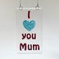 "Fused Glass ""I love you Mum"" Hanging - Handmade Glass Suncatcher"
