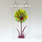 Fused Glass Green Allium Hanging - Handmade Glass Suncatcher