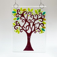 "Fused Glass ""Love"" Green Tree Hanging - Handmade Glass Suncatcher"