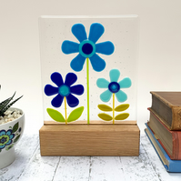 Fused Glass Blue Retro Flowers on Oak - Handmade Glass Sculpture