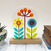 Fused Glass Botanicals on Oak - Yellow - Handmade Fused Glass Sculpture