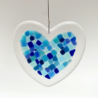 Fused Glass Heart Hanging (Blues) - Handmade Glass Decoration