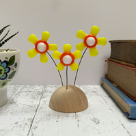 Fused Glass Happy Hippy Flowers (Yellow7) - Handmade Fused Glass Sculpture