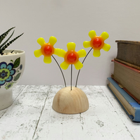 Fused Glass Happy Hippy Flowers (Yellow8) - Handmade Fused Glass Sculpture