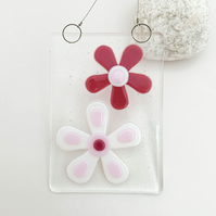 Pink Flowers Hanging - Handmade Glass Suncatcher