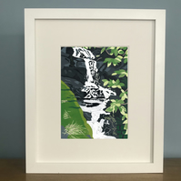 Waterfall - Reduction Lino Print