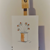 Top Hat Vase Red Flower, original pen and watercolour drawing on 300gsm paper