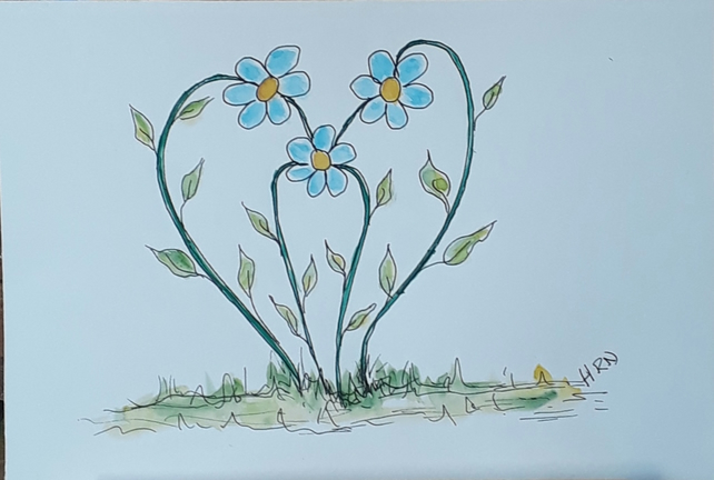 Original pen and watercolour Blue flowers in heart