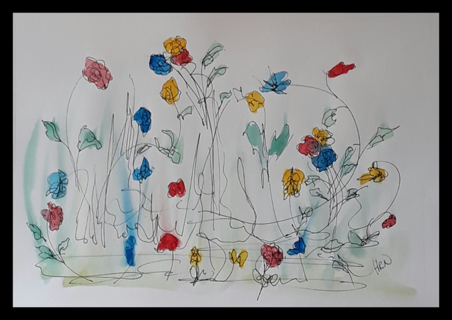 Doodle Flowers 1, pen and watercolour original drawing on A4 cartridge paper