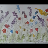 Doodle Flowers 3, Original pen and watercolour drawing on A4 paper - Folksy