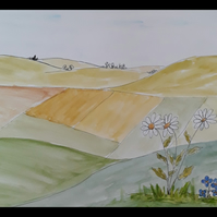 Over the Hills, Far Away, Daisies & Forget me knots, original pen & watercolour