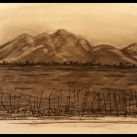 Mountain across the lake, Original charcoal drawing on heavyweight paper