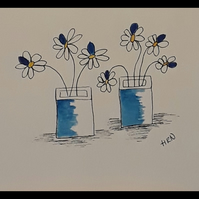 Original pen and watercolour drawing, Two square vase blue flower