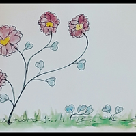Original pen and watercolour drawing, magenta flowers blue leaves - Folksy