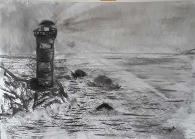 Old Lighthouse original charcoal drawing rocks sea on A3 cartridge paper