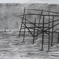 Remains of old pier, Brighton west pier original charcoal drawing size A3