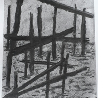 Wooden Remains in the sea, Original charcoal drawing on heavyweight paper
