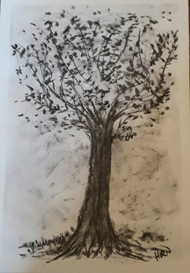 Tree Blowing in the Wind, Original charcoal drawing on heavyweight paper