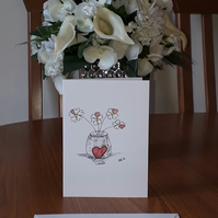 Red Heart Vase Red Flowers blank card printed from original pen & watercolour