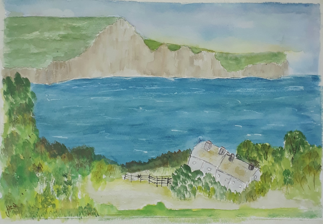 Original watercolour painting Seven Sisters East Sussex
