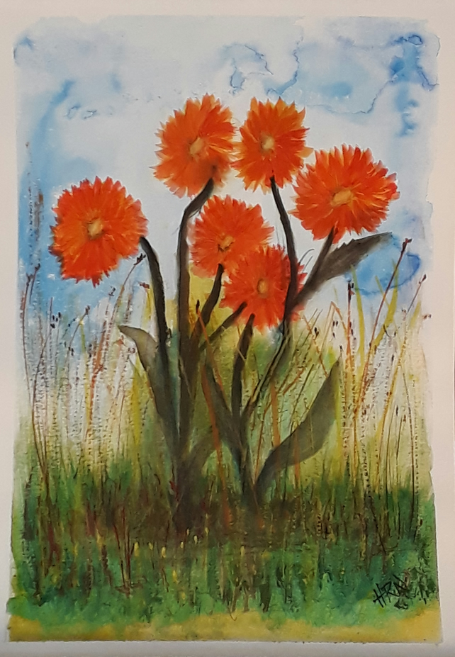 Original watercolour painting of red flowers  - Folksy