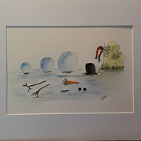 Do you want to build a snowman? Original pen and watercolour design with mount