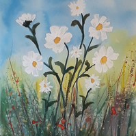 A Group of Daisies, original watercolour painting - folksy