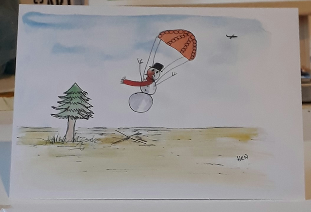 Snowman dropping in for Christmas card printed from original pen and watercolour