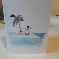 Snowman on holiday on a desert island, Blank card printed from original design