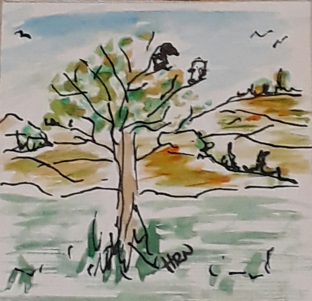 Original pen and watercolour mini doodle drawing, Birds in the tree 3