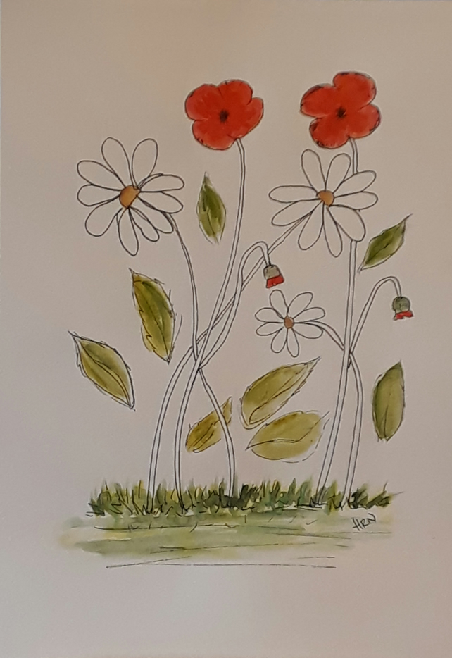 Original pen and watercolour, Poppies and Daisies Tall, size A4, Gift Idea
