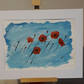 Poppies in the Breeze, acrylic painting  in white mount ready for framing