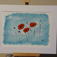 Three Poppies, acrylic painting on artist paper, mounted ready to frame