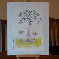 Blue Leaf Tree, original pen and watercolour drawing on paper in white mount