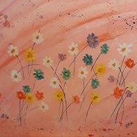 Original abstract acrylic painting on canvas board, meadow flowers - Folksy